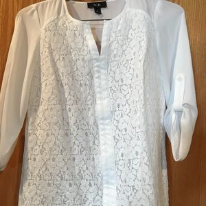 Beautiful lined lace front blouse